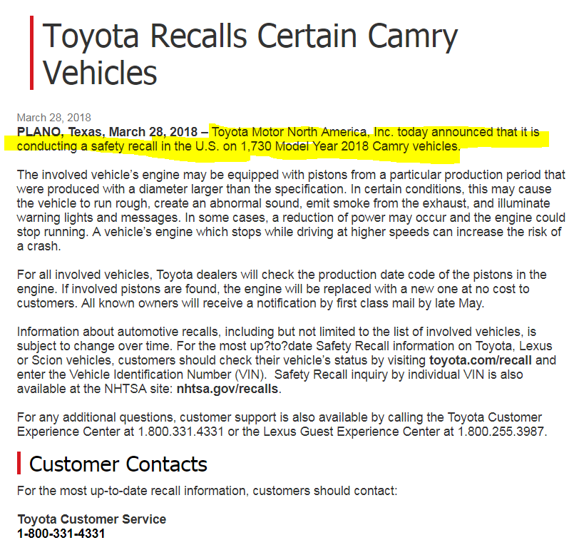 2018 Camry Recall  Pistons Too Big - Bob Is The Oil Guy