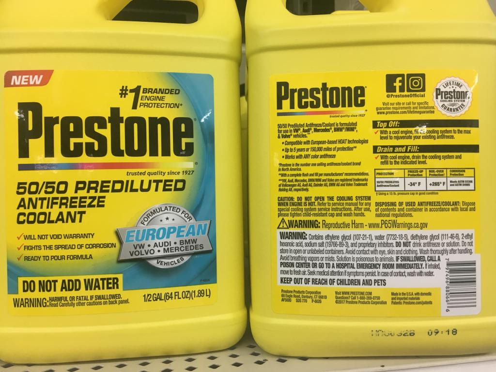 Prestone Specific Coolants For Toyota Honda Euro Bob Is The Oil Guy Engine Coolant Taken At North East Md Walmart