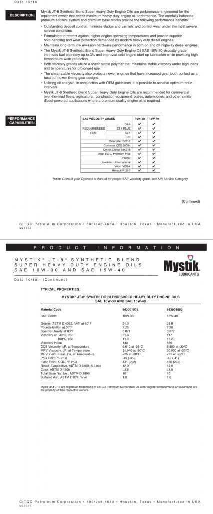 mystik jt8 15w40mystik in ram ecodiesel