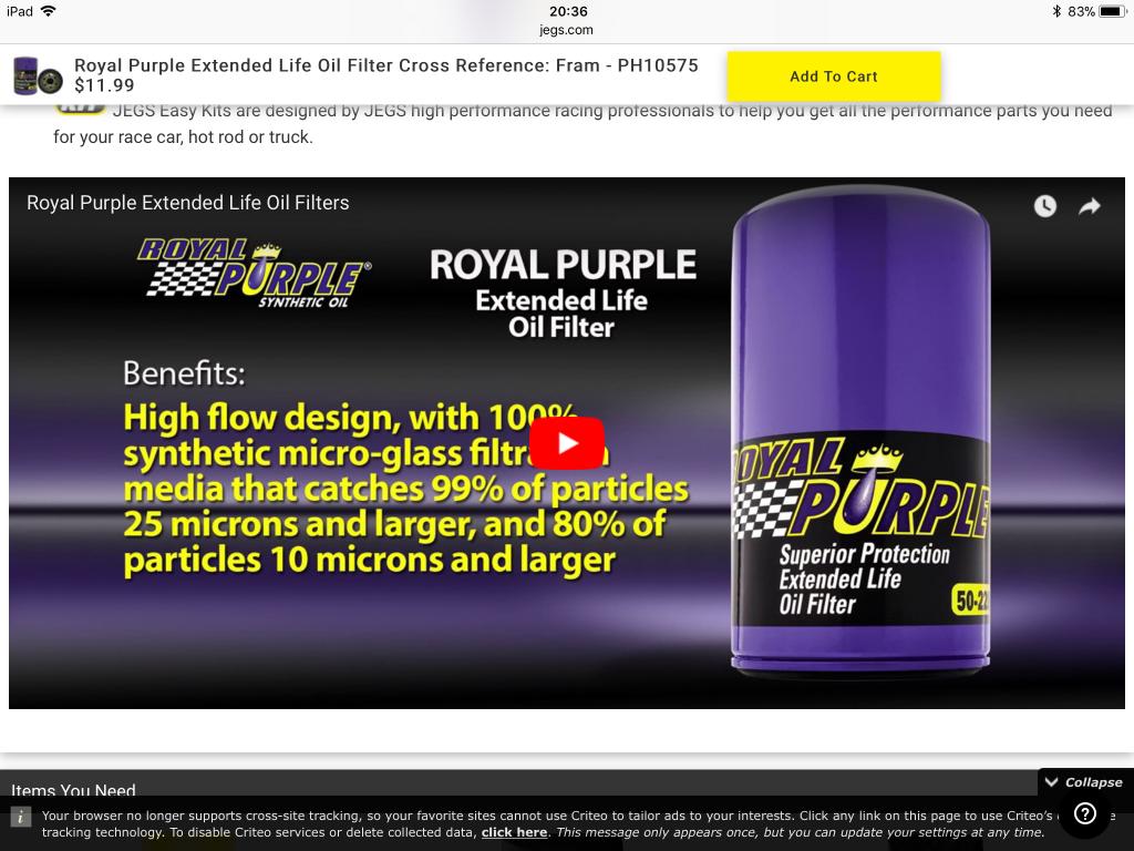 Royal Purple oil filter - Bob Is The Oil Guy