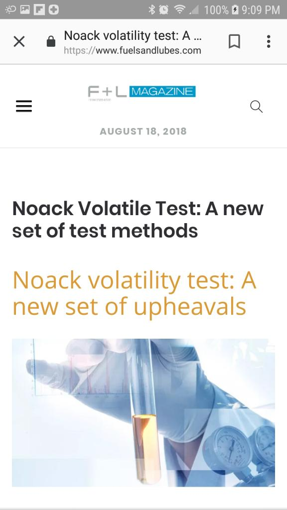Noack volatility: New test methods - Bob Is The Oil Guy