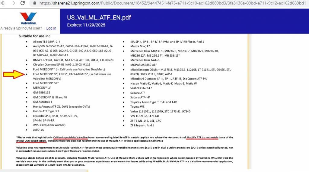 New Valvoline MaxLife ATF- Mercon LV vs  Mercon V - Bob Is