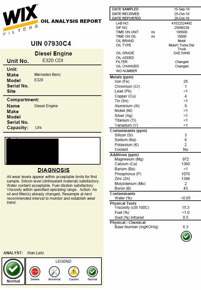 2005 Mercedes E320 CDI (OM648) - Mobil 1 TDT 5w40 - 10k